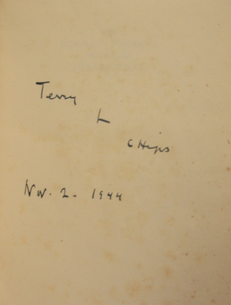 """Presentation inscription to Terence Rattigan from Henry """"Chips"""" Channon"""