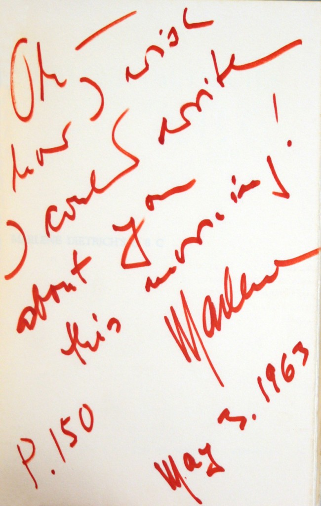 Marlene Dietrich's presentation inscription to Paul Scofield