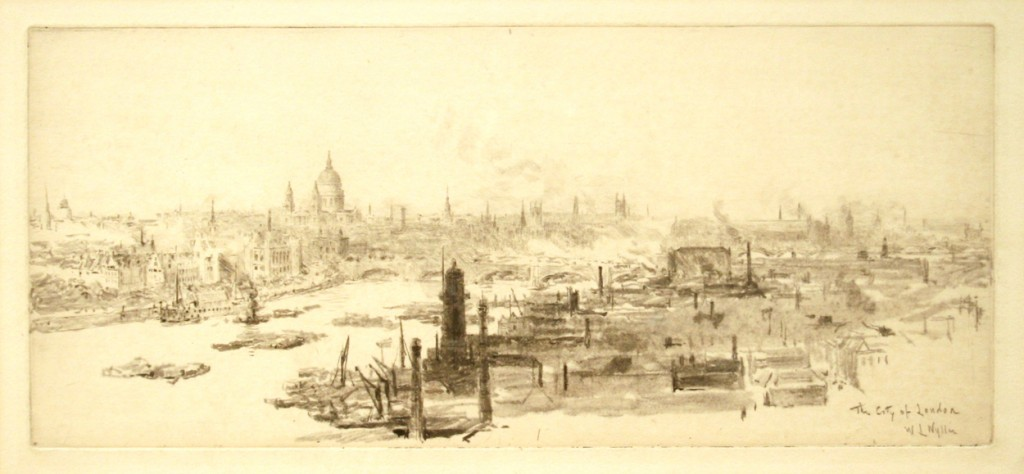William Lionel Wyllie etching, 'The City of London'