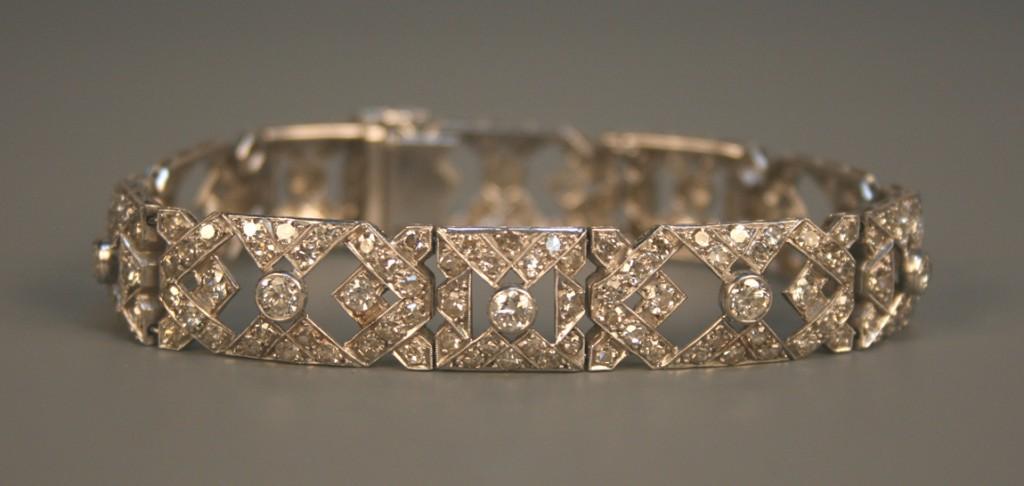 A diamond bracelet of geometric design