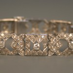 A diamond bracelet of geometric design