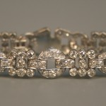 A diamond bracelet in a pierced circular link design