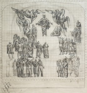 Sketch for 'Christ in Glory' at St Sidwell's, Exeter, circa 1957