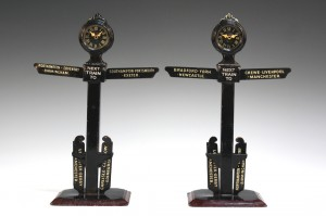 Two Bing tinplate station indicators