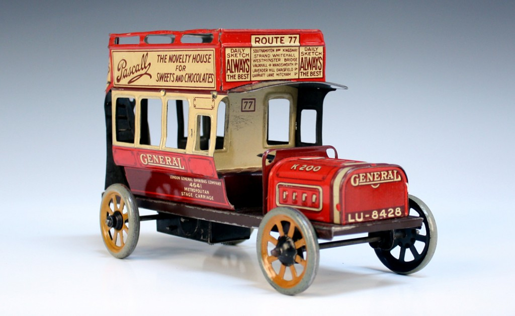 A Bing tinplate clockwork open top double deck bus