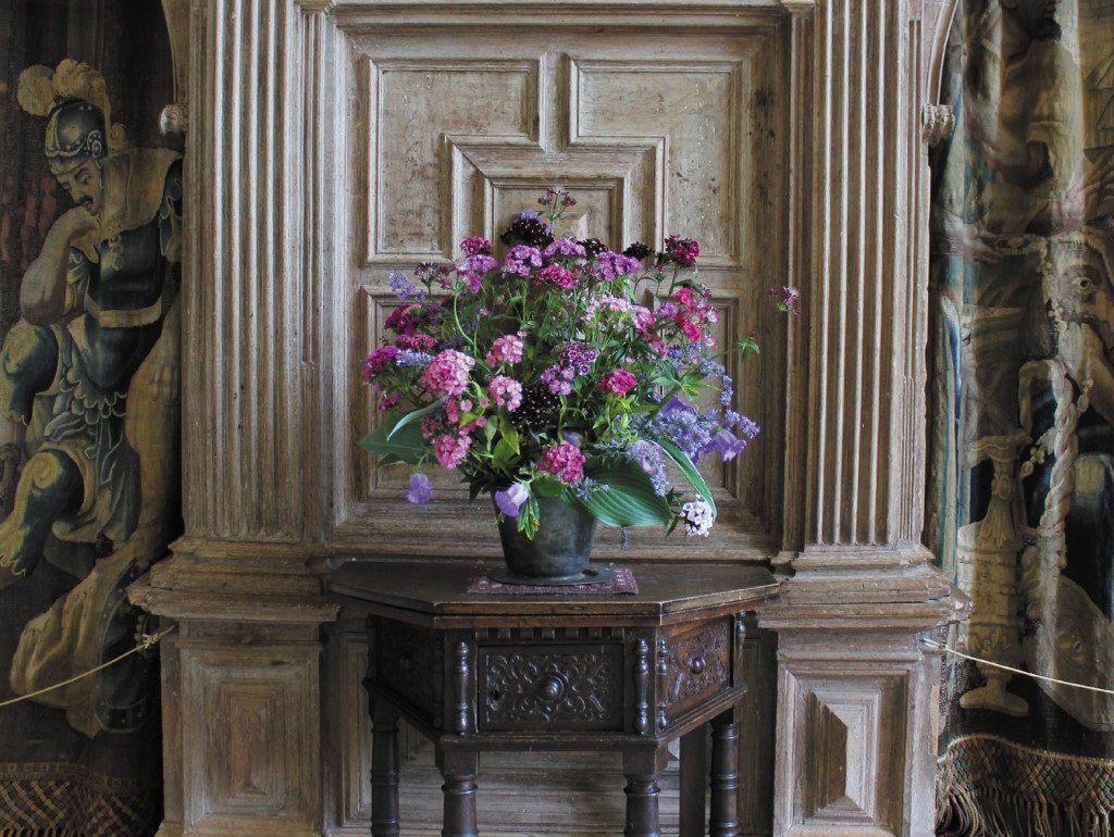 Cascading summer flowers in the Great Hall at Parham