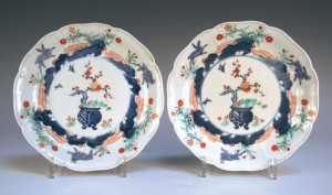 A pair of Japanese porcelain dishes