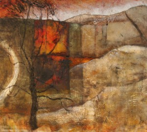 'Deep in the Downs #1', mixed media on canvas