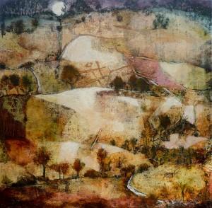 'Moonlight', mixed media on canvas