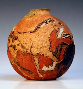 'Galloping Horses', stoneware pot with Arundel red clay slip
