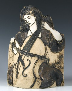'Cellist', stoneware pot with oxide and incised decoration