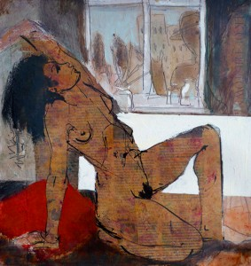 'Brighton Life Drawing', mixed media on panel