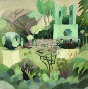 'Barbara Hepworth's Garden, St Ives' oil on board
