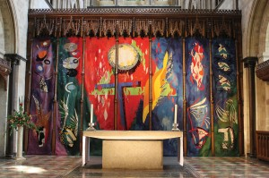 John Piper's Chichester Cathedral reredos tapestry, circa 1966, depicting the Trinity, the Evangelists and the Elements.