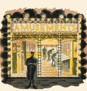 Eric Ravilious, Amusement Arcade, 1938, Lithograph, Private Collection