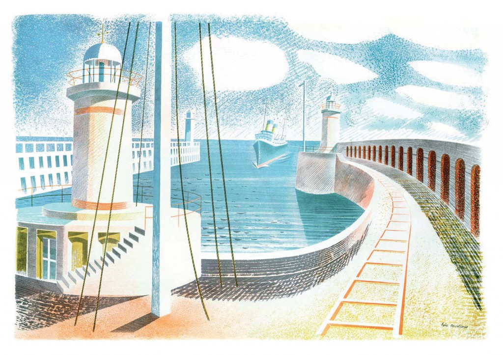 Eric Ravilious, Newhaven Harbour, 1937, Lithograph, Private Collection.
