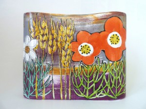 'Landscape' design rectangular vase by Lisa Katzenstein