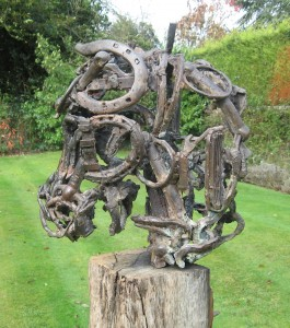 Olivia Ferrier: 'Horse Head', bronze on a reclaimed Sussex sea groin, produced in an edition of 9