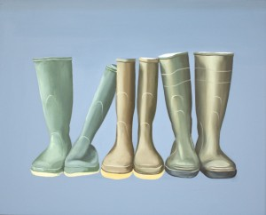 Richard Davidson's oil on panel 'Wellington Boots', 40 x 50cm