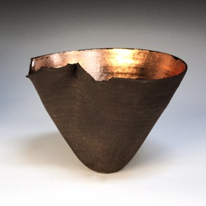 Claire Palastanga 'Red Hot' black earthenware with gold leaf