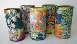 Group of leaning vases hand-painted with wild plants by Lisa Katzenstein
