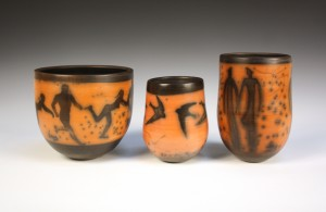 Three works in naked raku entered by ceramicist John Evans, heights 15 to 20cm