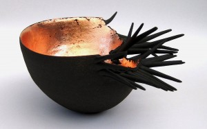 Claire Palastanga 'Wave' black earthenware with gold leaf