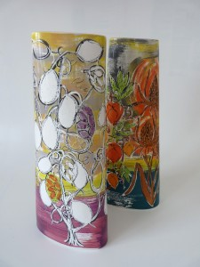 'Honesty' and 'Physalis' design tall twist vases by Lisa Katzenstein