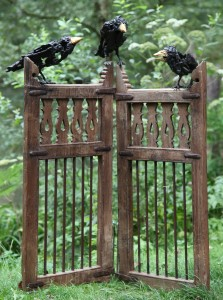Olivia Ferrier: 'Three Crows on a pair of gates', Bronze with gold plate on a teak and iron gate, unique