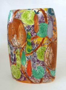 'Melons' design large square vase from the 'Grow Your Own' series by Lisa Katzenstein