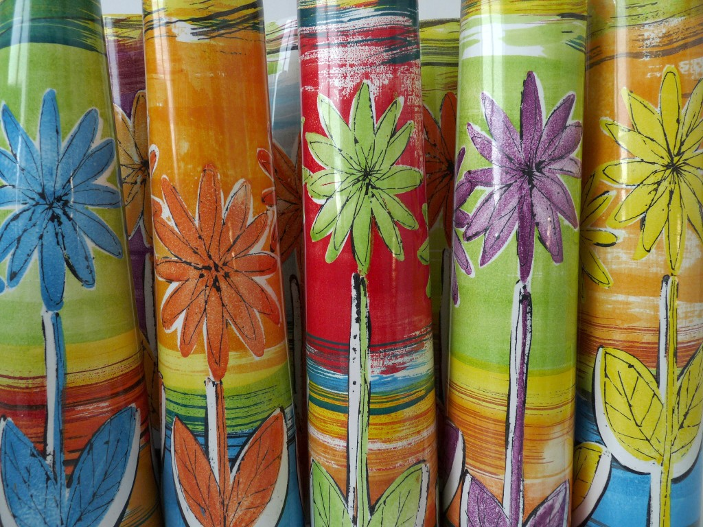 Detail of tall cone vases in 'Flowers' design by Lisa Katzenstein