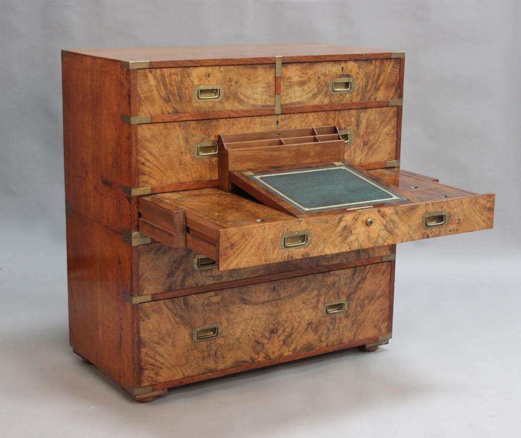 Lot 2001 Victorian campaign secretaire chest