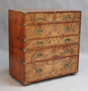 Lot 2001 Victorian campaign secretaire chest