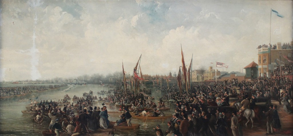 Late 19th century oil on canvas by J.B. Allen depicting The Boat Race, London
