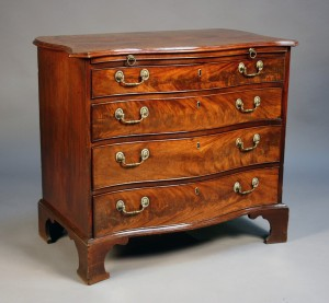 George III figured mahogany chest of drawers