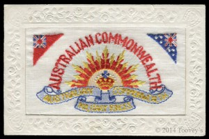 Embroidered silk postcard, from an album that sold for £1500