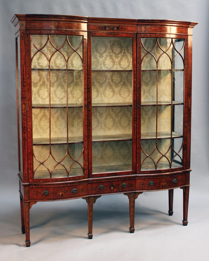 An Edwardian satinwood display cabinet