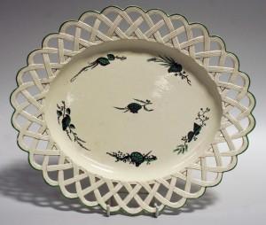A Wedgwood creamware pierced oval dish