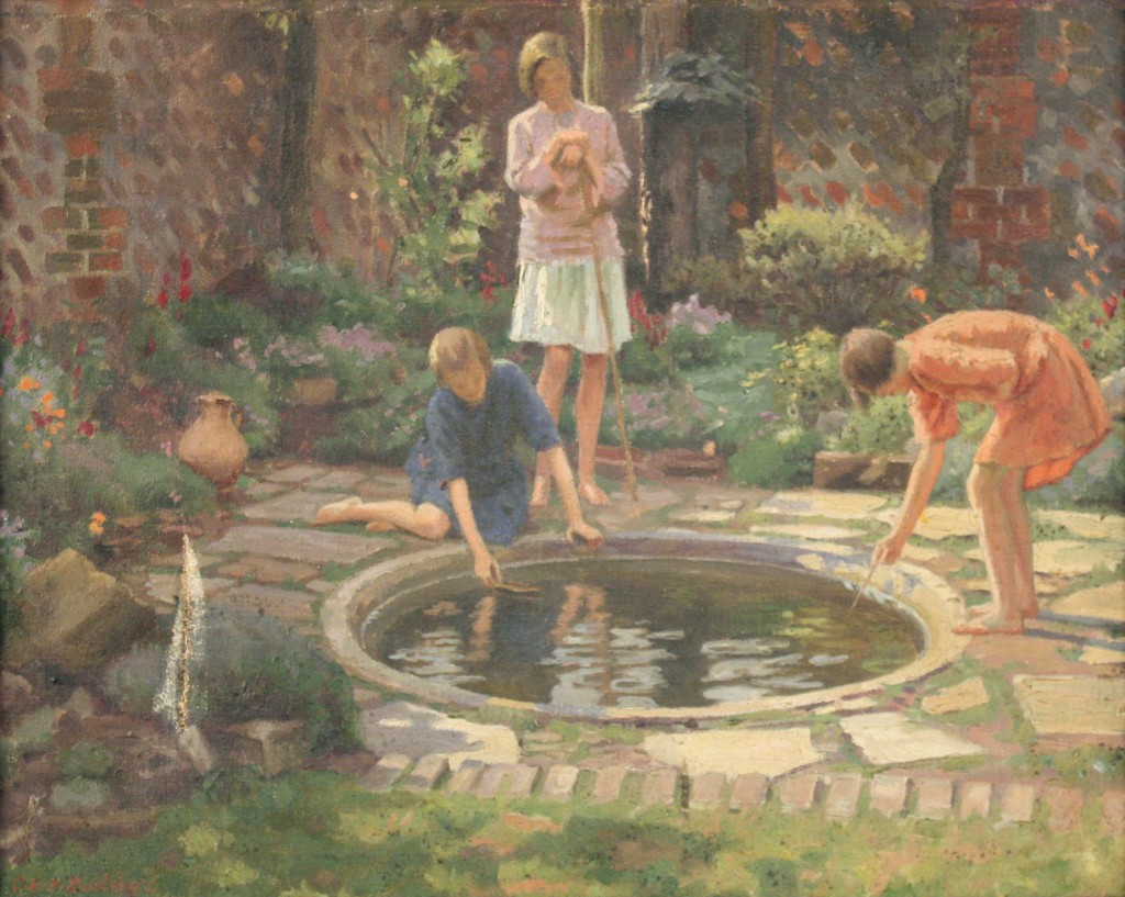 'The Pond', early 20th century oil on canvas by Charles H.H. Burleigh