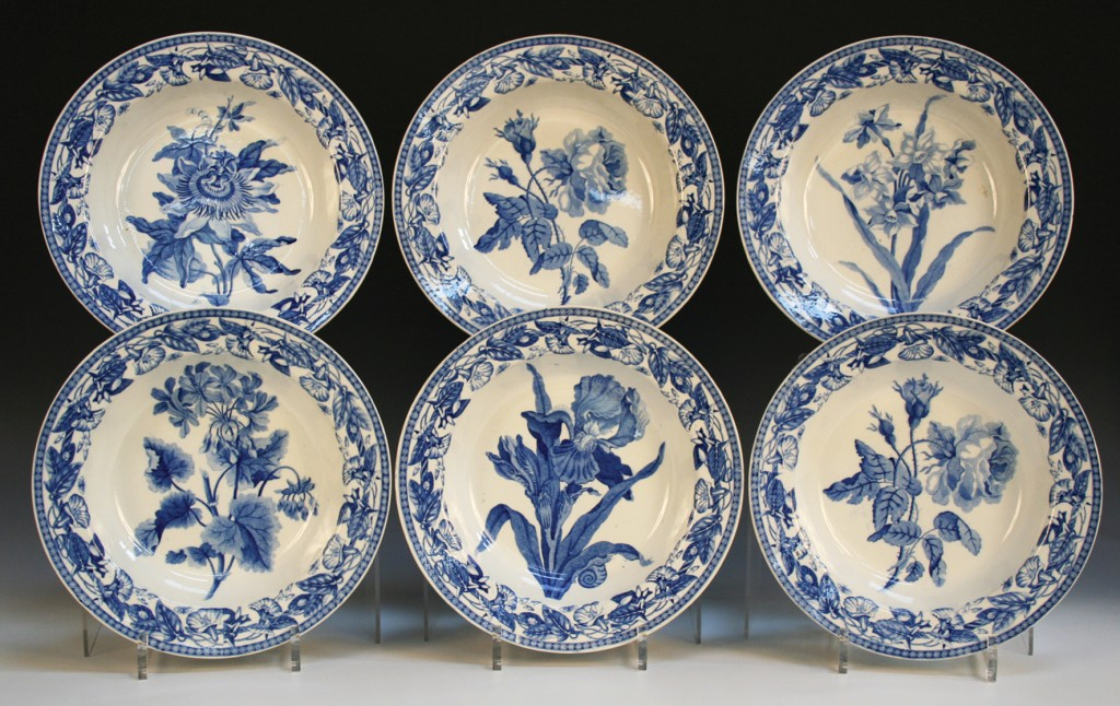 A set of six Wedgwood blue printed plates