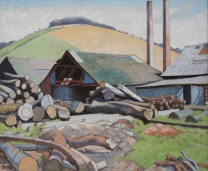 'Sawmill under Goodwood', 20th century oil on canvas by Veronica Burleigh