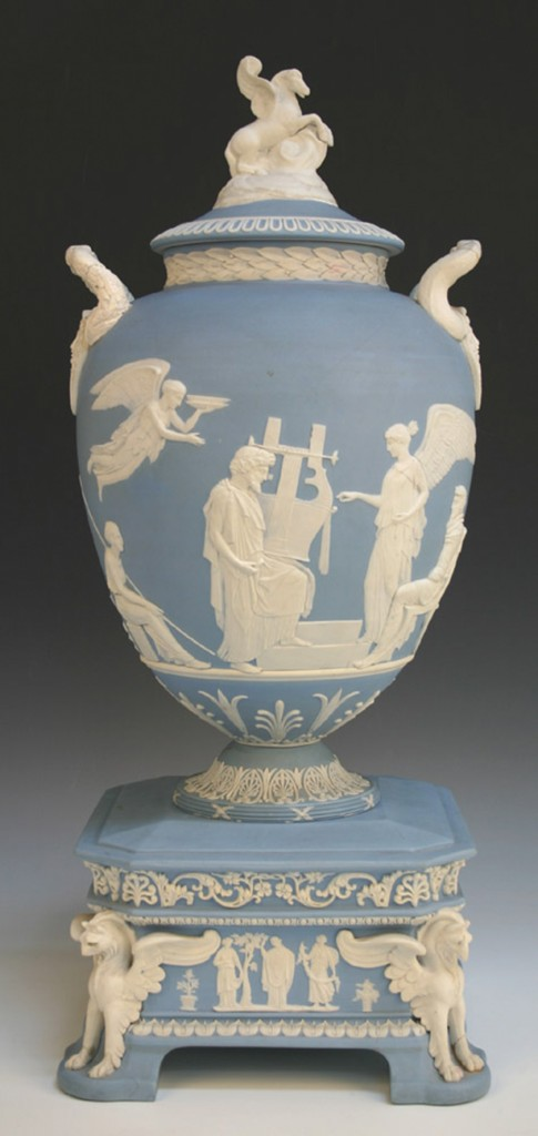 A Wedgwood pale blue jasper dip 'Pegasus' vase and cover