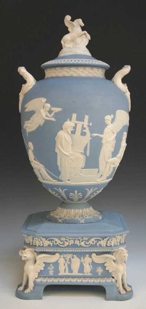 A Wedgwood pale blue jasper dip 'Pegasus' vase and cover