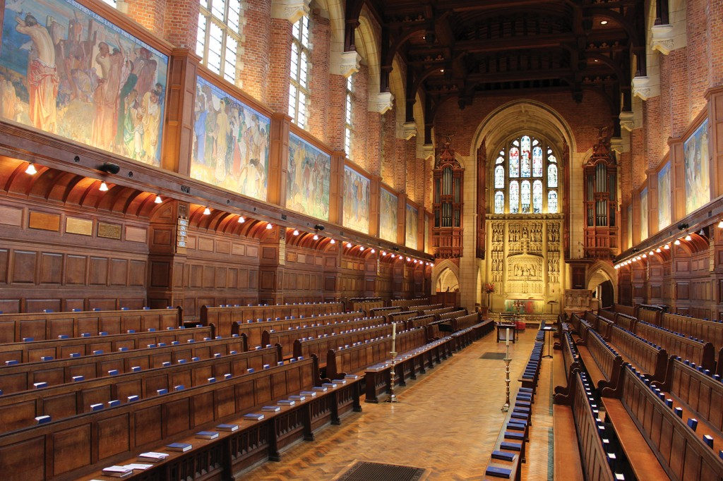 The interior of Christ's Hospital School's chapel with Frank Brangwyn's panels