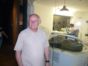 Reg Mead with the 'Jersey Hoard' at the States funded Jersey Museum