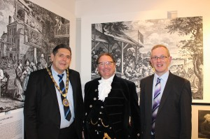 Left to right The Chairman of Horsham District Council, Cllr Brian O' Connell with the Lord High Sherriff of West Sussex, Jonathan Lucas and Exhibition Curator, Jeremy Knight