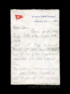 Original Titanic Letter at Toovey's Auction ©Toovey's