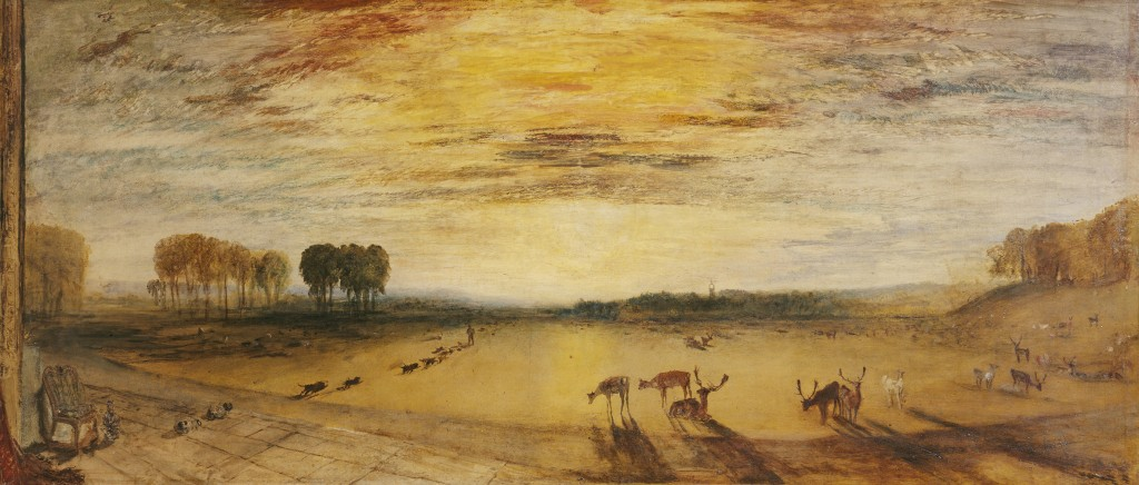 J.M.W. Turner – Petworth Park with Lord Egremont and his dogs, oil on canvas © Tate, London, 2014