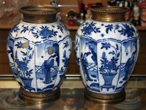A pair of 18th Century Dutch Delft blue and white vases