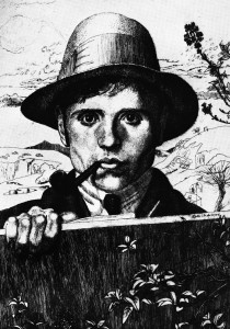 Leon Underwood, Self-Portrait in a Landscape, 1921, etching on paper © The Estate of the Artist and The Redfern Gallery, London